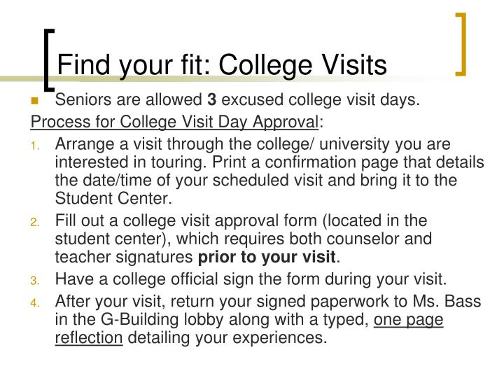 Find your fit: College Visits