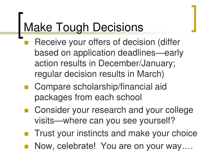 Make Tough Decisions