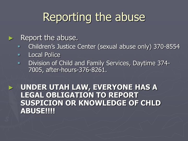 Reporting the abuse