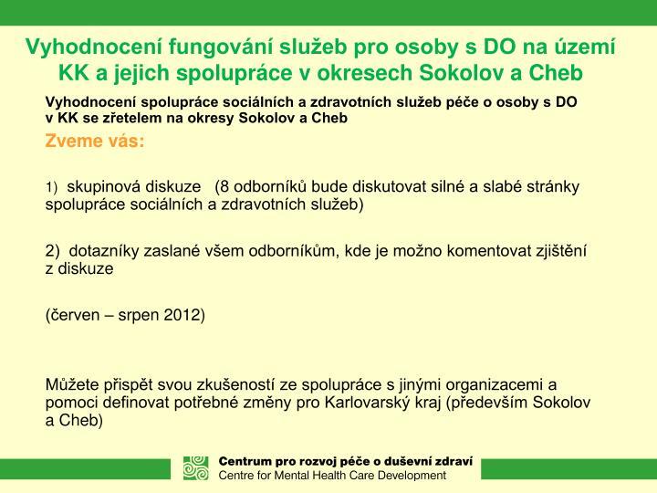 Vyhodnocení fungování služeb pro osoby s DO na území KK a jejich spolupráce v okresech Sokolov a Cheb