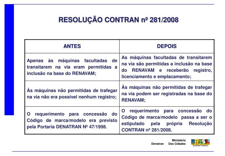 RESOLUÇÃO CONTRAN nº 281/2008