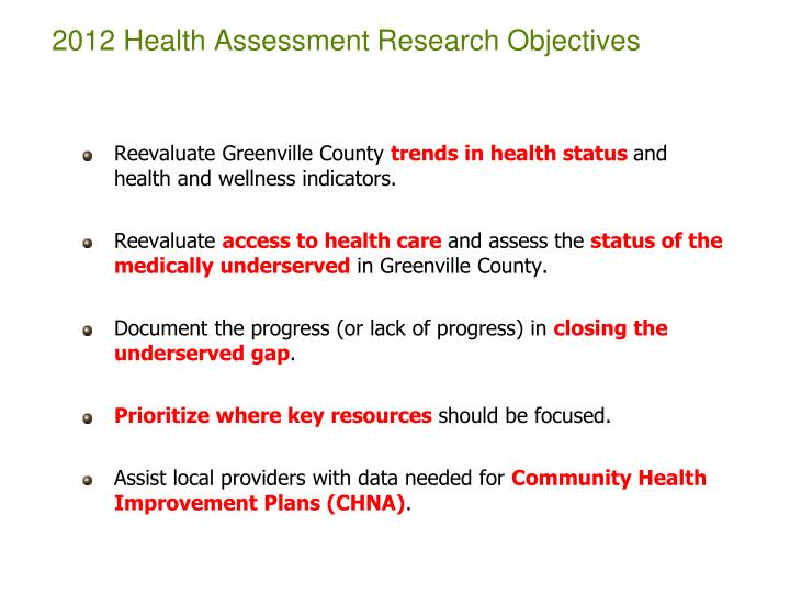 2012 Health Assessment Research Objectives