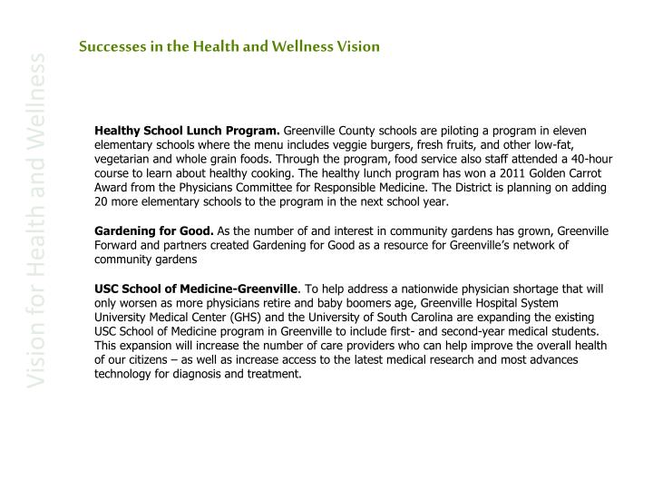 Successes in the Health and Wellness Vision