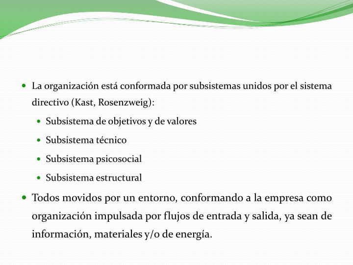 La organización está conformada por subsistemas