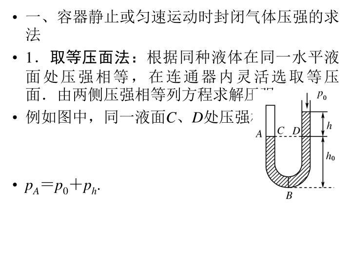 一、容器静止或匀速运动时封闭气体压强的求法