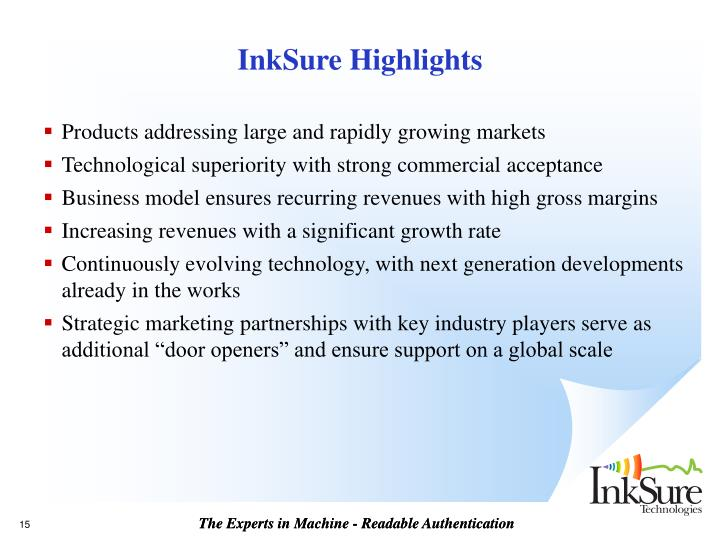 InkSure Highlights