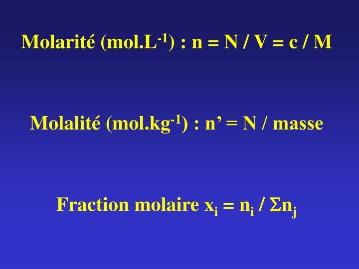 Molarité (mol.L