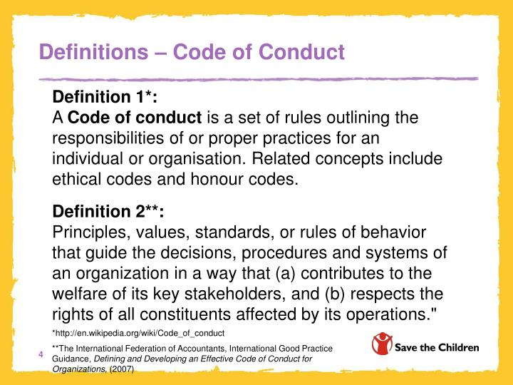 Definitions – Code of Conduct