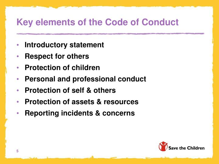 Key elements of the Code of Conduct