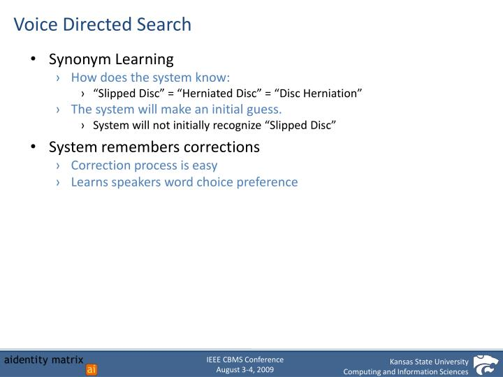 Voice Directed Search