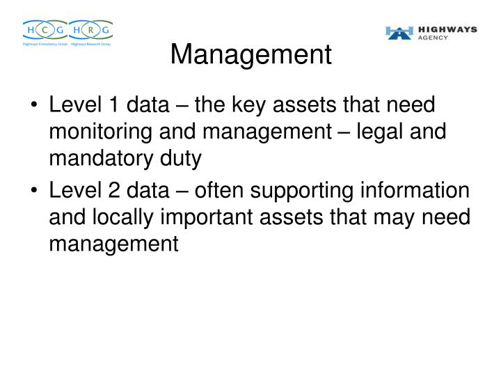 Level 1 data – the key assets that need monitoring and management – legal and mandatory duty