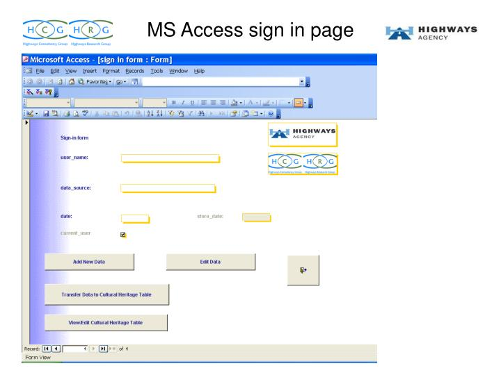 MS Access sign in page