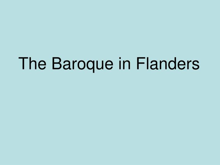 The Baroque in Flanders