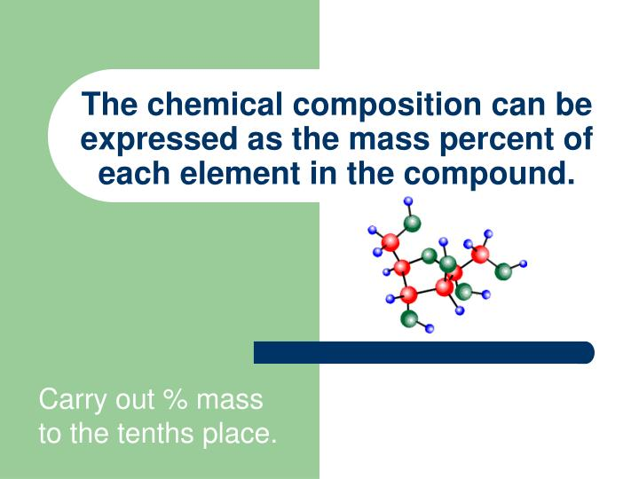 The chemical composition can be expressed as the mass percent of each element in the compound.
