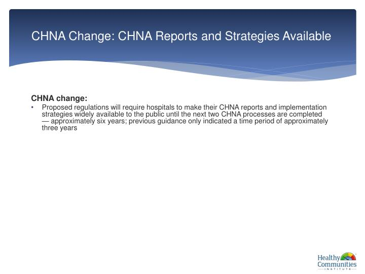 CHNA Change: CHNA Reports and Strategies Available