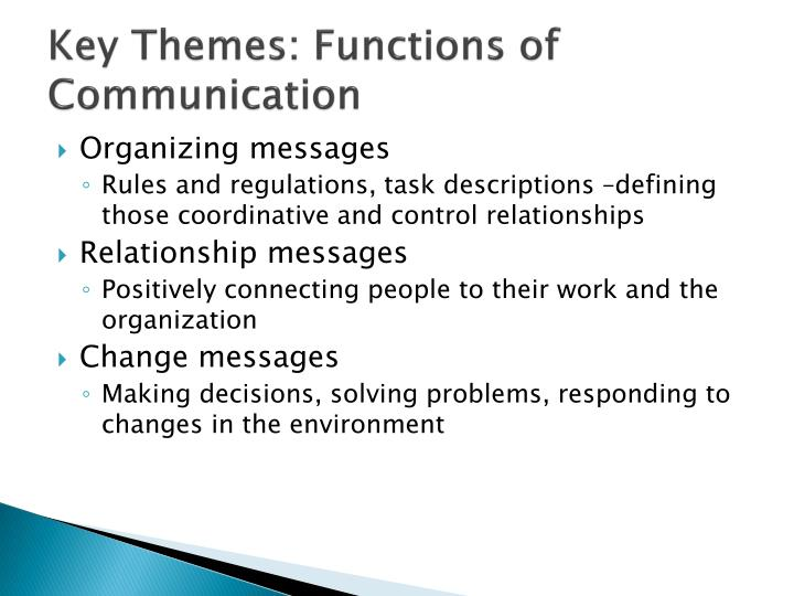 Key Themes: Functions of Communication