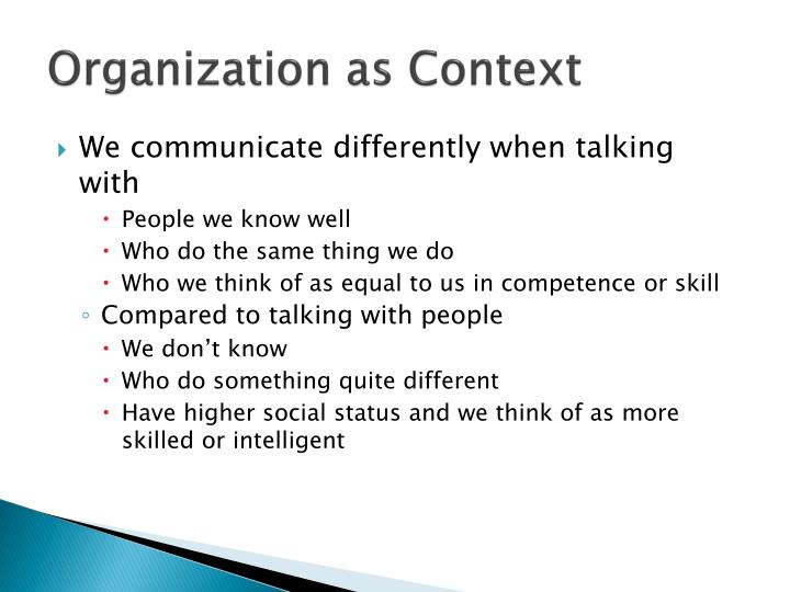 Organization as Context