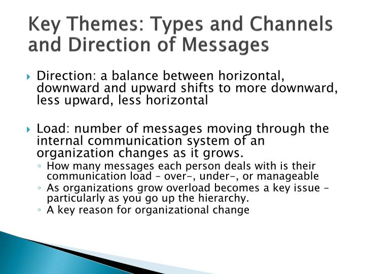 Key Themes: Types and Channels and Direction of Messages