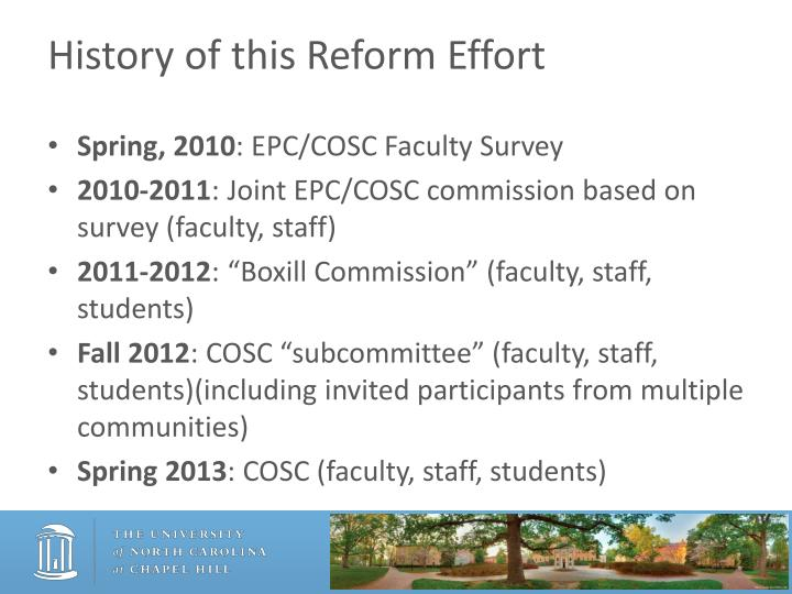 History of this Reform Effort