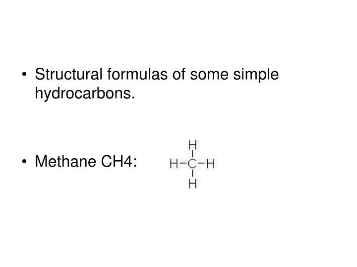 Structural formulas of some simple hydrocarbons.