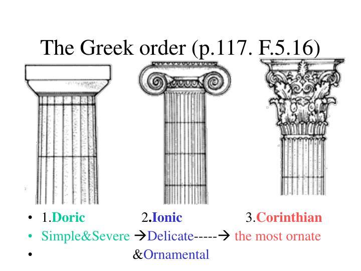 The Greek order (p.117. F.5.16)