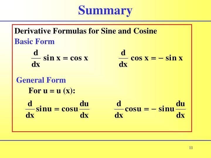 Derivative Formulas for Sine and Cosine