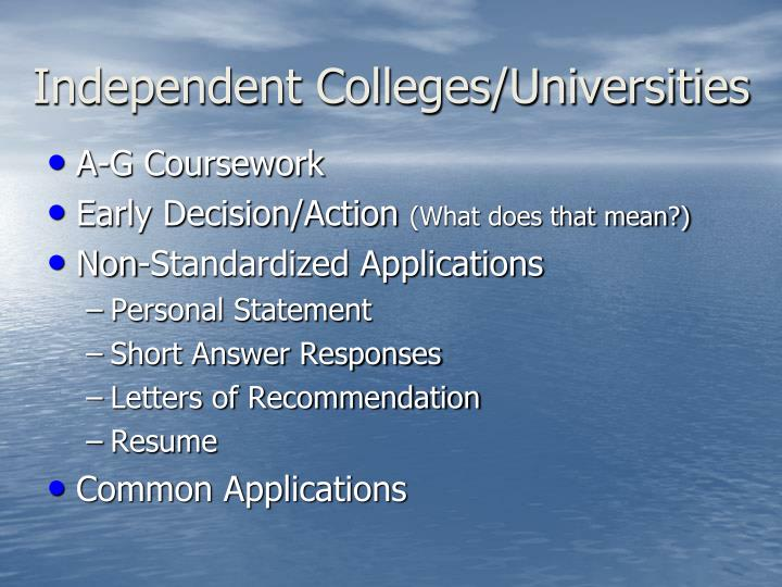 Independent Colleges/Universities