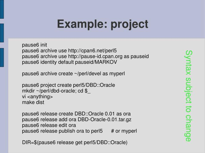 Example: project