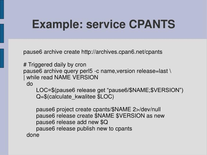 Example: service CPANTS
