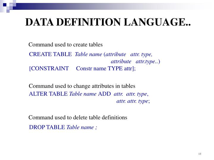 DATA DEFINITION LANGUAGE..