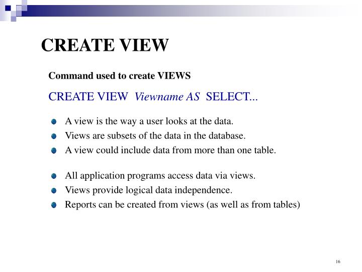CREATE VIEW