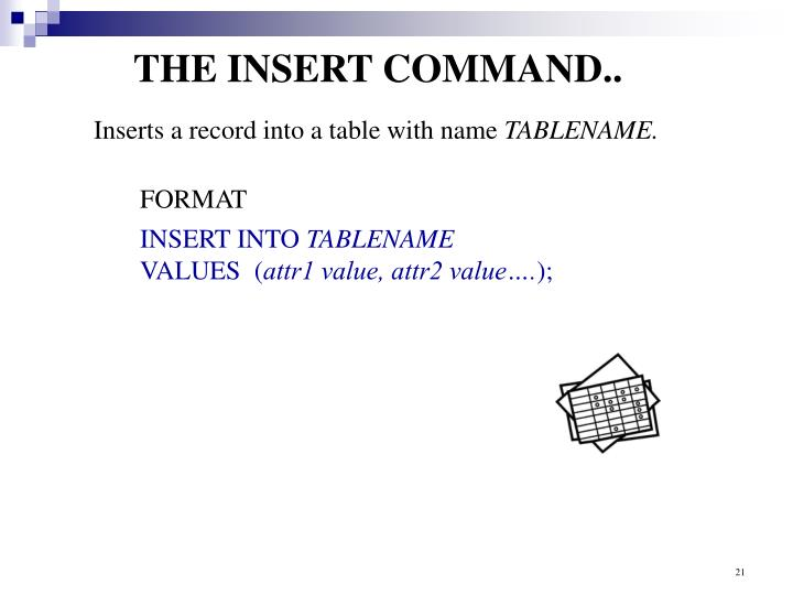 THE INSERT COMMAND..