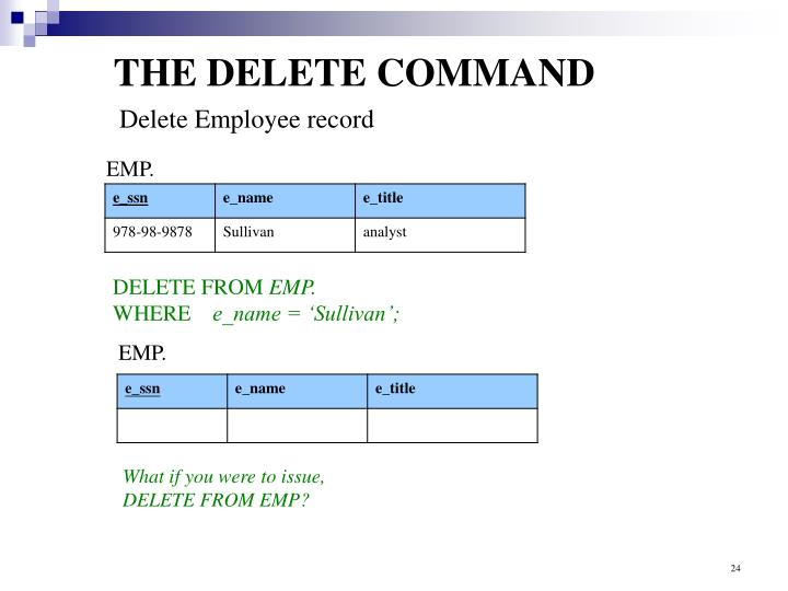 THE DELETE COMMAND