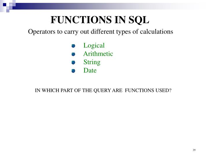 FUNCTIONS IN SQL