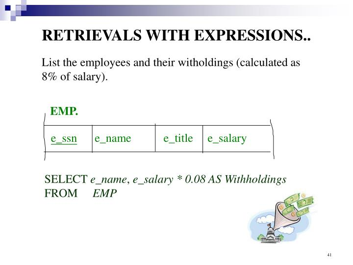 RETRIEVALS WITH EXPRESSIONS..