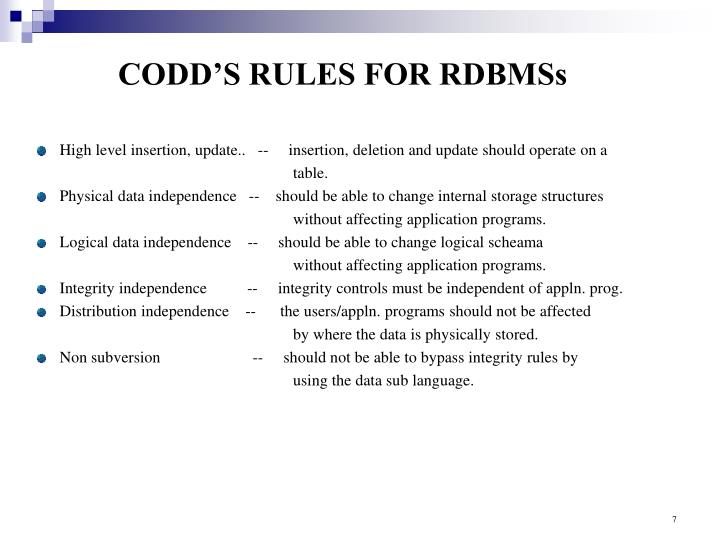 CODD'S RULES FOR RDBMSs