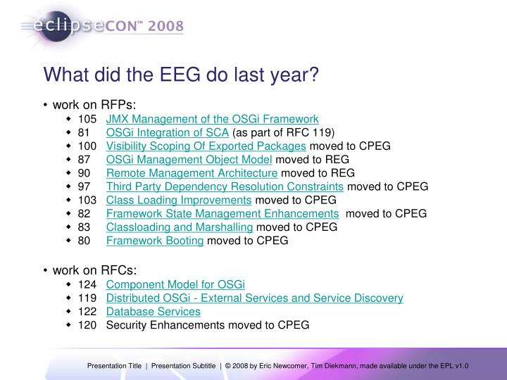 What did the EEG do last year?
