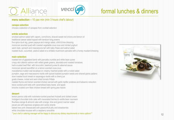 formal lunches & dinners