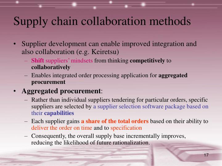 Supply chain collaboration methods