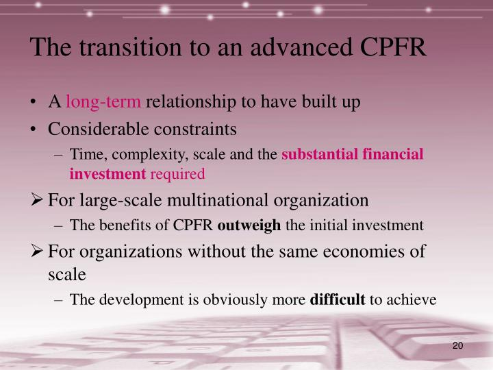 The transition to an advanced CPFR