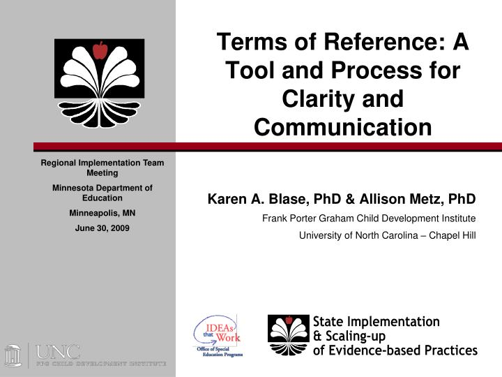 Terms of reference a tool and process for clarity and communication