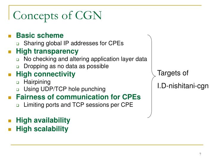 Concepts of CGN