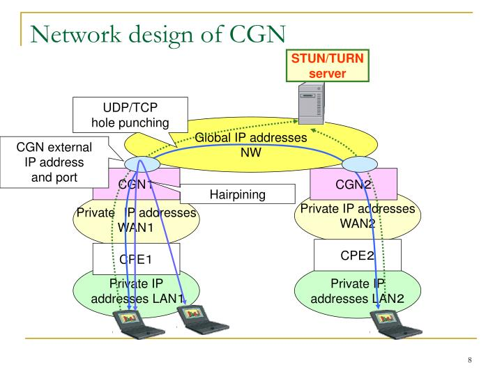 Network design of CGN