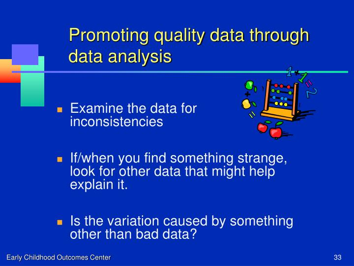 Promoting quality data through data analysis