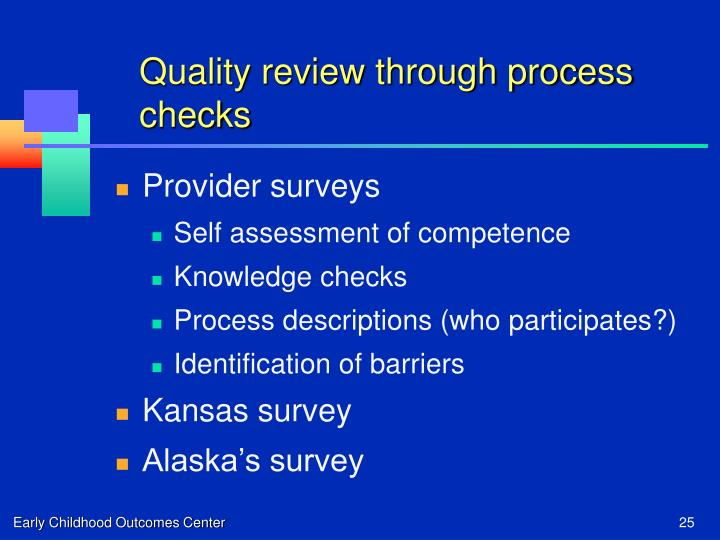 Quality review through process checks