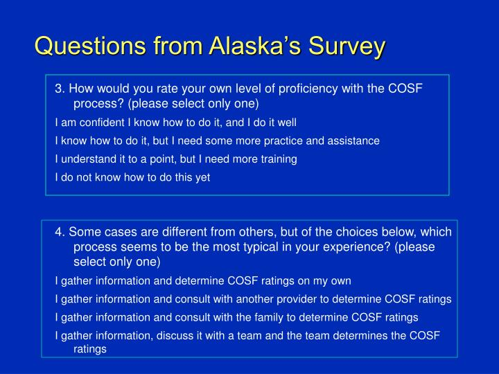 Questions from Alaska's Survey