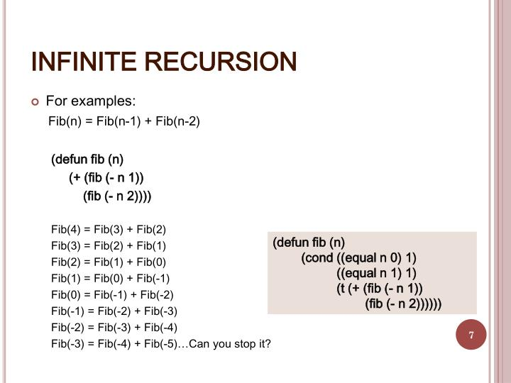 INFINITE RECURSION