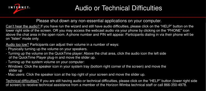 Audio or Technical Difficulties