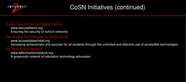 CoSN Initiatives (continued)
