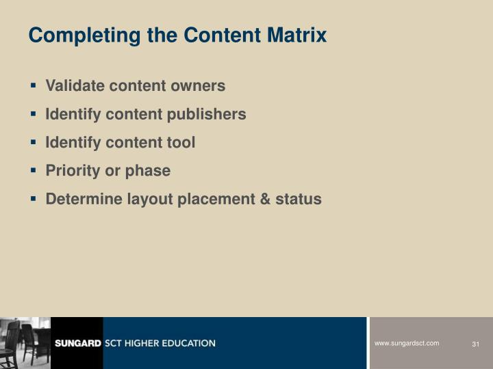 Completing the Content Matrix